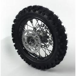 Roue complète 12 arrière acier avec pneu YUANXING noire axe ø15