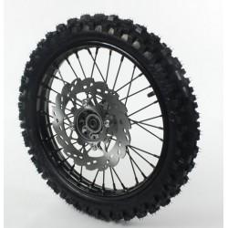 Roue avant 14 axe 15 mm acier avec pneu YUANXING noire
